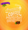 Premium coffee poster typography design bright vector