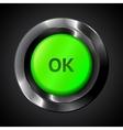 Green ok realistic plastic button vector
