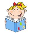 Kid girl reading a book vector