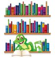 A smiling frog reading a book vector