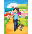 A happy young boy walking with his pet vector