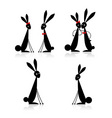 Couples of rabbits black silhouette vector