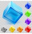 Transparent glass cubes vector