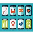 Set of flat smartphones designs vector