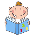 Kid boy reading a book vector
