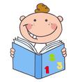 Kid boy reading a book vector