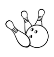 Black and white bowling ball with pins vector