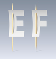 Paper font on toothpicks vector