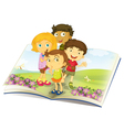 Kids on a book vector