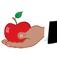 Hand holding apple cartoon vector