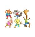 Cute cartoon happy animal set vector