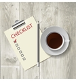 Pencil lying on the list morning coffee work vector