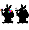 Two easter bunnys vector