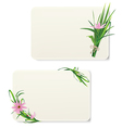 Card with grass and flowers vector