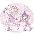 Two girls skate vector
