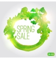 Watercolor spring splash banner with leaves vector