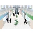 People in shopping mall with two floors vector