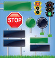 Empty road sign and traffic light set vector