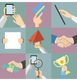 Flat design business hands holding paper for vector