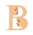 Faces in alphabet b- logo for skin tanning vector