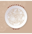 Coffee and tea sketch doodles on white plate vector