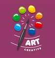 Logo brush and palette with paints vector