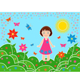 Small girl on the meadows in sunny summer day vector