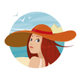 Beautiful girl in hat vector