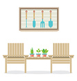 Wooden garden chairs with plants and tools vector