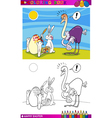 Easter bunny humor cartoon for coloring vector