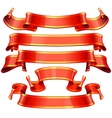 Realistic red glossy ribbons with a yellow stripe vector