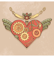 Steampunk heart color vector