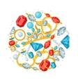 Set of beautiful jewelry and precious stones vector