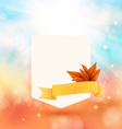 Paper note with ribbon and leaves on bright autumn vector
