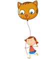 A little girl holding a cat balloon vector