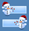 Cute little snowman banners vector