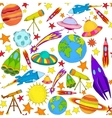 Space colored seamless pattern vector