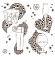 Set of wine glass on the doodle circular pattern vector