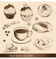 Sweet dessert and coffee vector