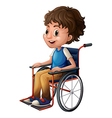 A young boy riding on a wheelchair vector