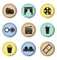 Flat design cinema icons vector