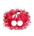 Grunge brightly colorful frame with pair cherries vector