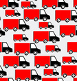 Red trucks seamless pattern bakground with cars in vector