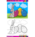 Easter bunny cartoon for coloring vector