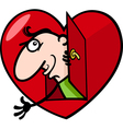 Man in big valentine heart cartoon vector