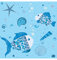 Sea world with fish and shells pattern vector