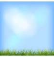 Green grass blue sky natural background vector