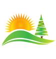 Green tree -hills and sun logo vector