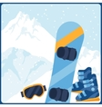Snowboarding equipment on background of mountain vector