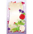 Love letter with hearts and flowers - rose daisy vector